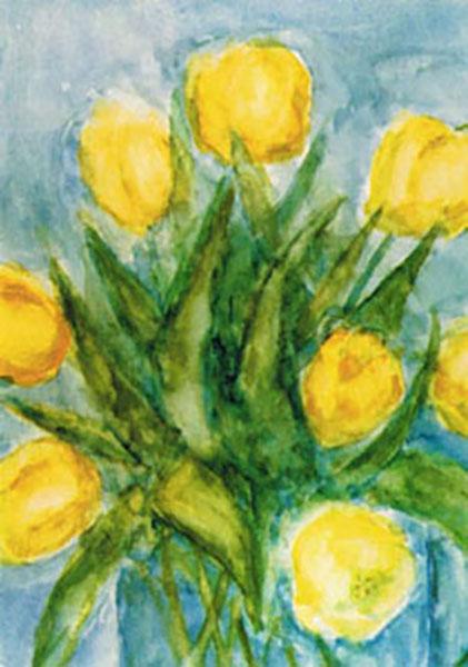 Amnesty International  postkort, gule tulipaner, akvarel