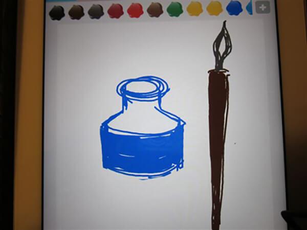 Blækhus og pen, malet på Ipad i frihånd