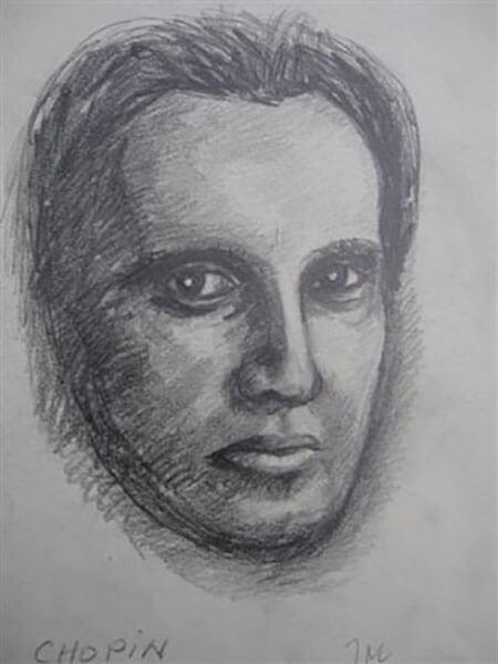 Chopin af Inger Harbom, blyant