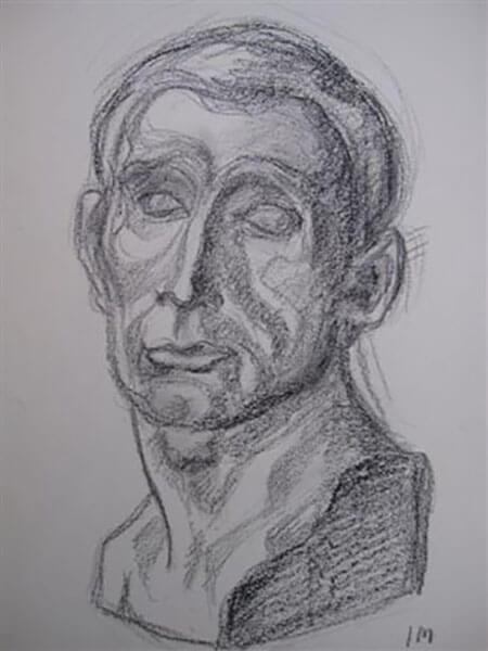 Buste af Inger Harbom, kul