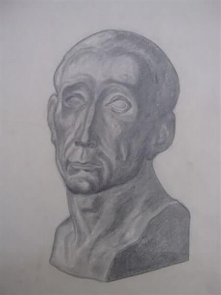 Buste af Inger Harbom, blyant