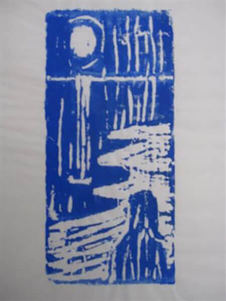 Linoliumstryk af Inger Harbom, inspireret af Edward Munch
