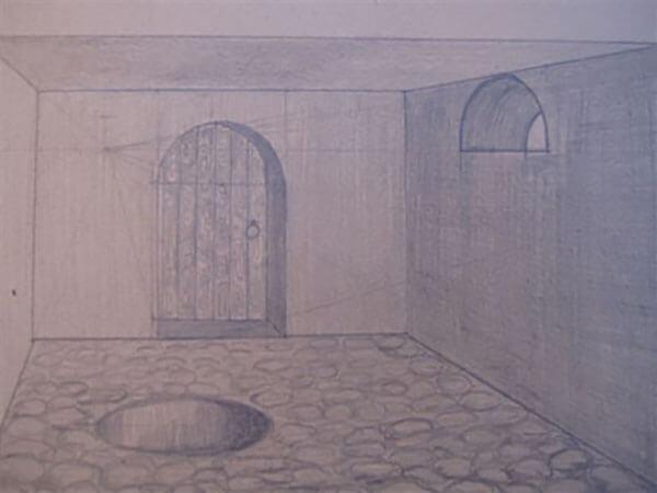 Perspektivtegning af Inger Harbom, blyant