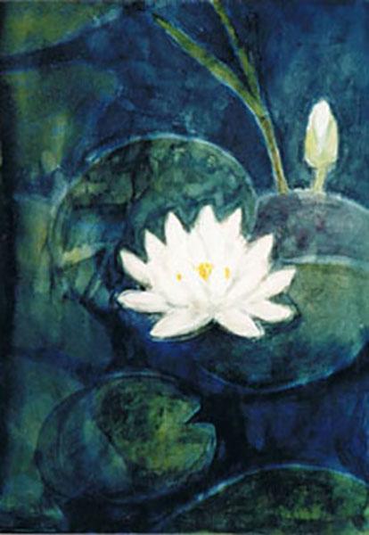 Lotusblomst i mit havebassin, akvarel, ca. 1995
