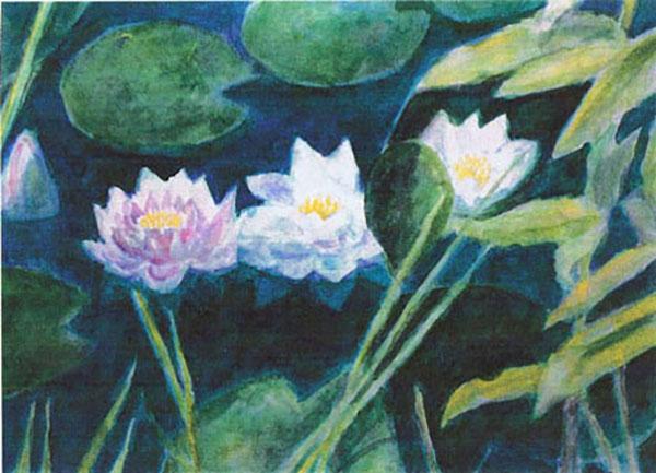 Lotusblomster i mit havebassin, akvarel, 1995