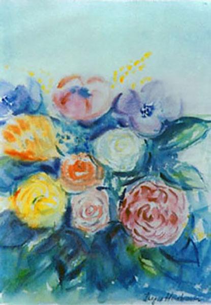 Blomsterbuket med roser og franske anemoner, akvarel