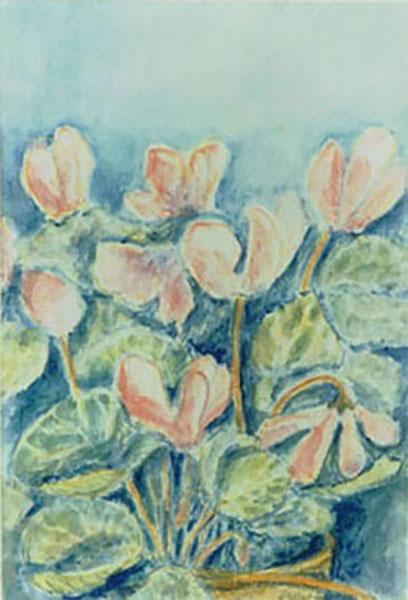 Alpeviol, akvarel, julemærke, 1994