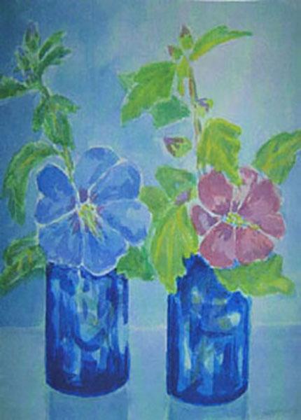 Hibiscus fra mit sommerhus, akvarel, 2008