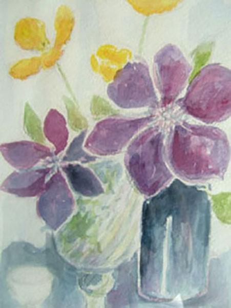 Klematis og sibirisk valmue fra min have, akvarel