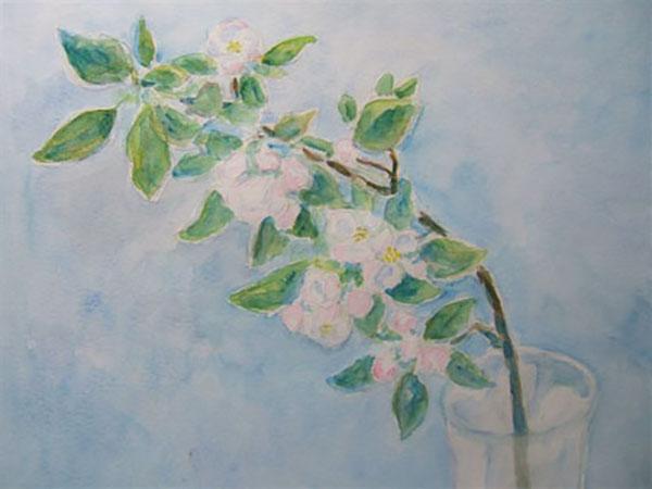 Æblegren fra min have, akvarel, ca. 1994