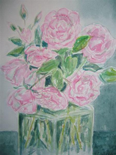 Roser fra mit sommerhus, akvarel,