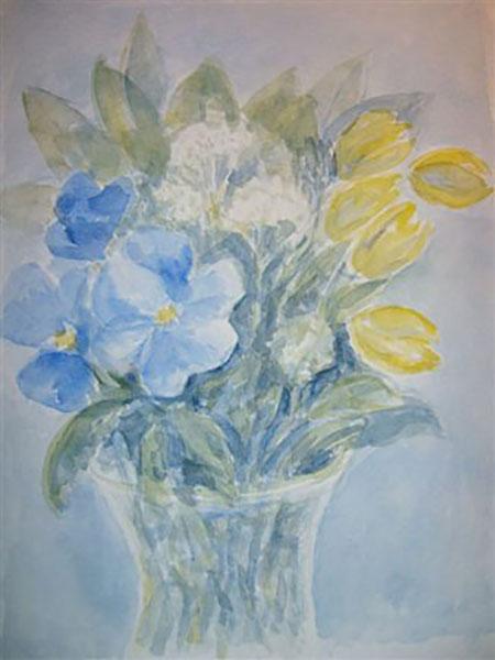 Stedmoderblomst og tulipaner, akvarel