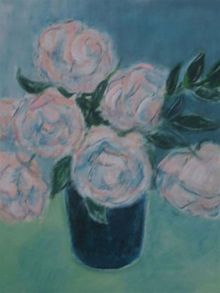 Roser, New Dawn fra min have, akryl