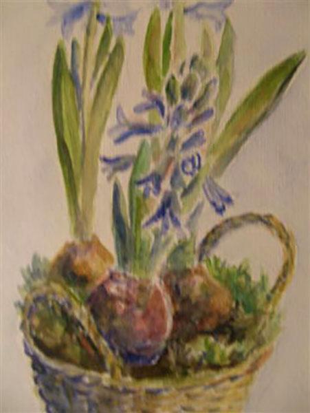 Blå hyacinter, akvarel, ca. 2004