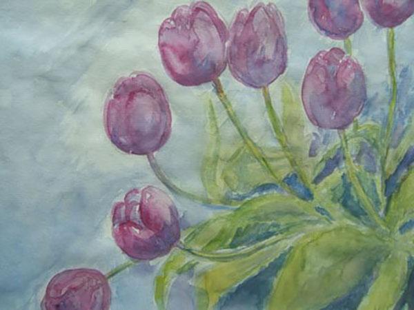 Røde tulipaner, akvarel, ca. 1990