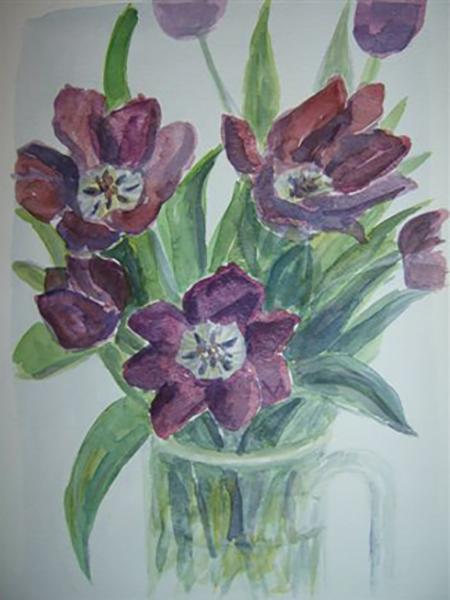 Røde tulipaner, akvarel, ca. 1994