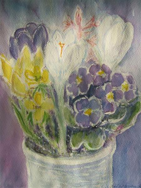 Forårsblomster, erantis og krokus, akvarel, ca. 2006