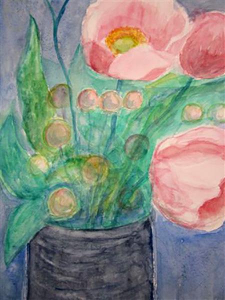 Høstanemoner, akvarel