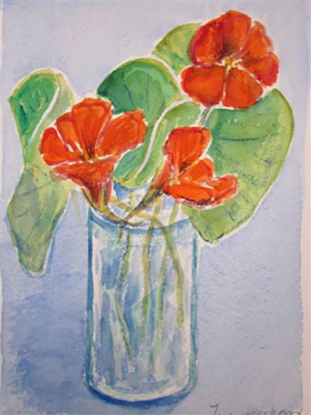 Nasturtier (tallerkensmækker), akvarel