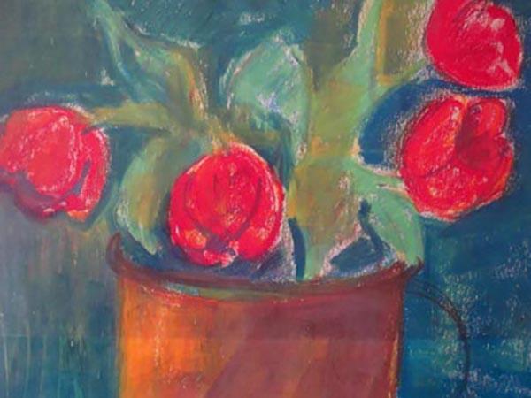Tulipaner, pastelkridt, ca. 1976
