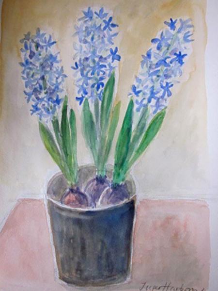 Blå hyacinter, akvarel, ca. 2017