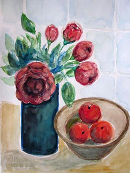 Roser og appelsiner, akvarel, ca. 2017