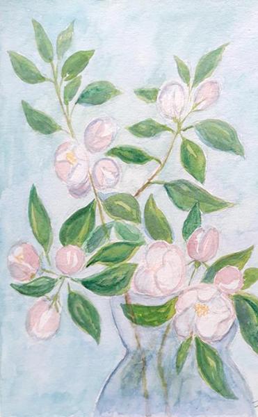 Æblegren, akvarel, 2019