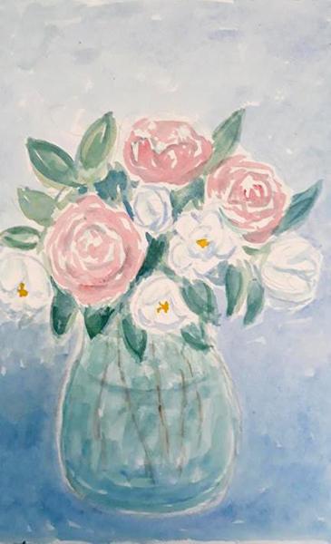 Buket med roser og jasmin, akvarel, 2019
