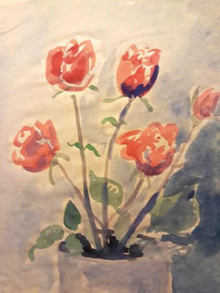 Rose, akvarel, ca. 1976