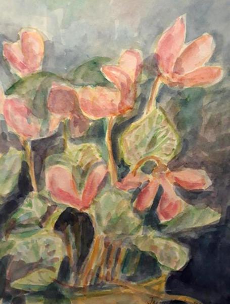 Alpeviol, akvarel, 1994