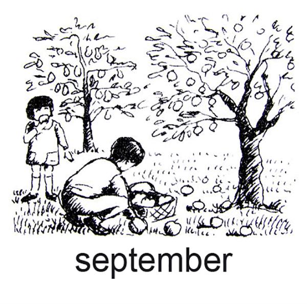 September, Børn plukker æbler