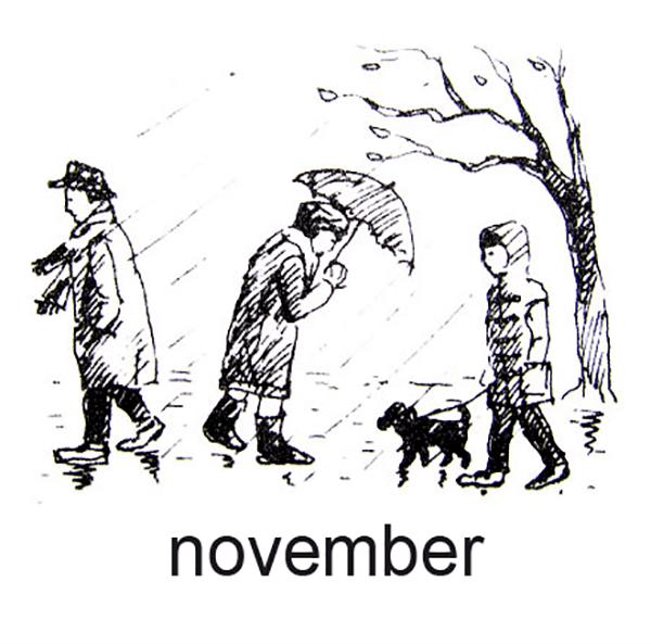 November, Regn og rusk, vi har regntøj på