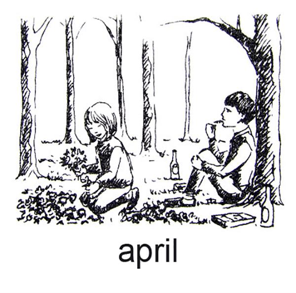 April, Børn plukke anemoner