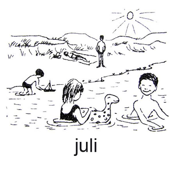Juli, Børn leger ved stranden