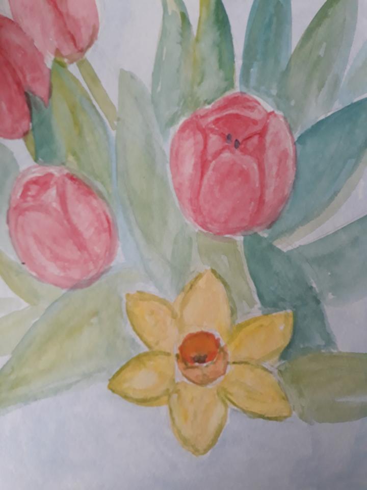 Forårsbuket, tulipaner og pinseliljer, 2021