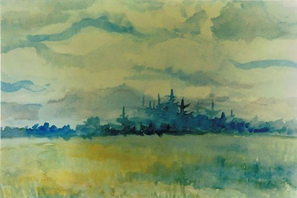 Fantasilandskab, marker og træer,akvarel, ca. 1987