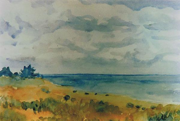 Strand ved Sejrøbugten, akvarel, ca. 1987