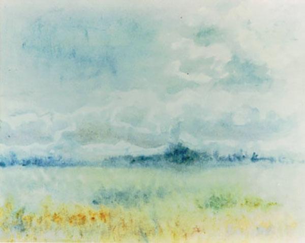 Fantasilandskab, akvarel, ca. 1987