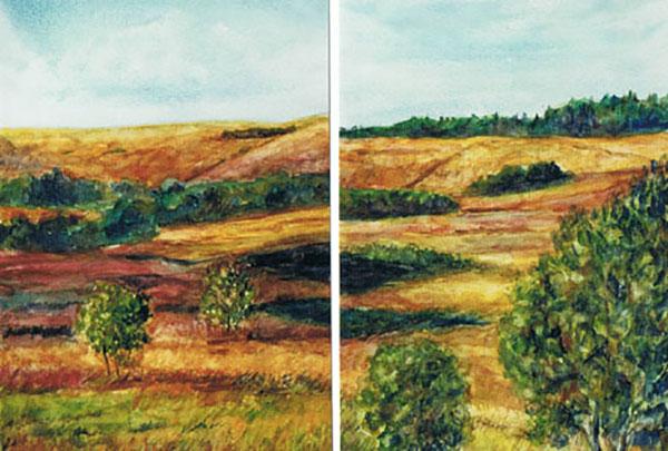 Efterårslandskab, akvarel