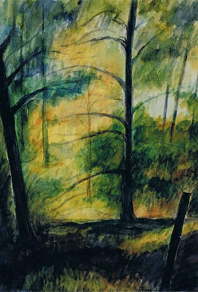 Den smukke sti ved Høve Strand, akvarel