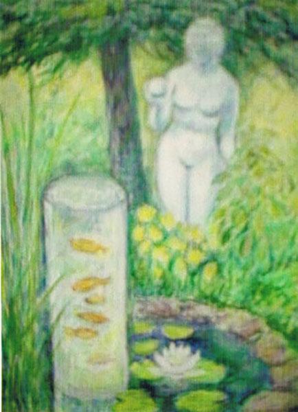 Venus fra Milo og guldfisk, akryl