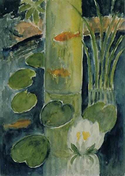 Guldfisk i min have, akvarel, ca. 1998