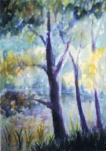 Fantasitræer, akvarel