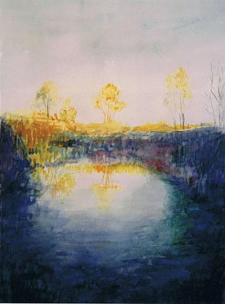 Smør- og fedtmosen efterår, akvarel, ca. 1999