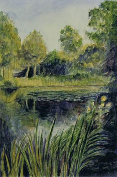 Sø i Ballerup, akvarel, ca. 1998