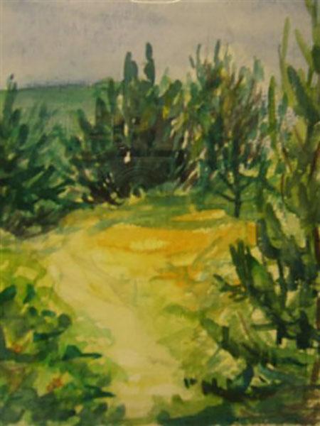 Høve Strandeng, efterår, akvarel, ca. 2005
