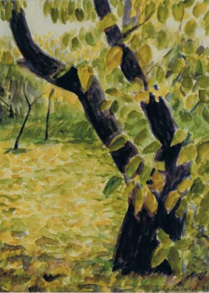 Mit blommestræ, efterår, akvarel, ca. 1997