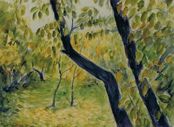Mit blommetræ, efterår, akvarel, ca. 1997