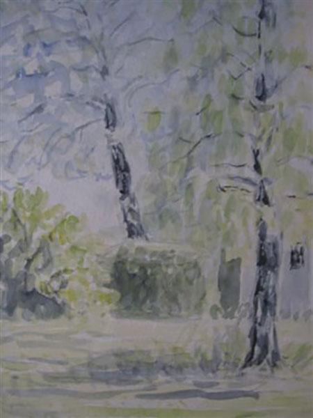 Birketræer, akvarel, ca. 2006