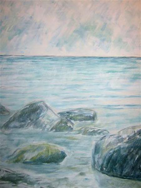 Bornholm, klippestrand, akryl, ca. 2013